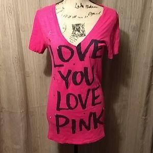 M Victoria's Secret Pink Long Berry Sequin Tee